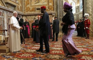 Pope Francis greets diplomats during audience at Vatican